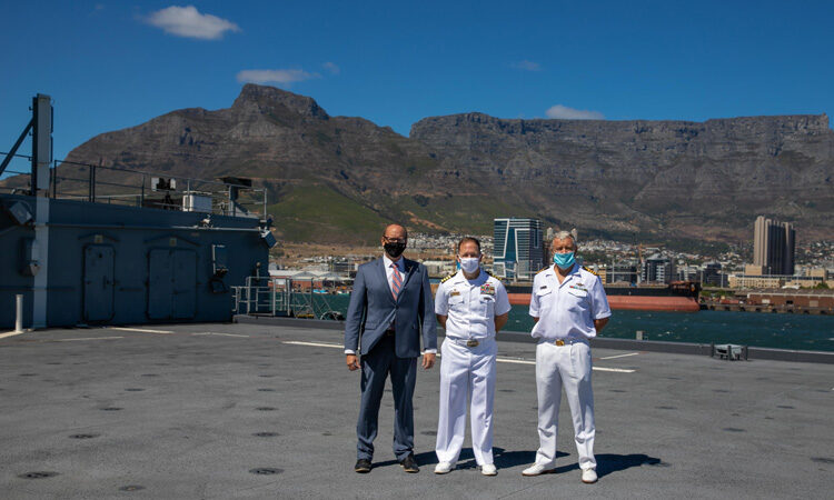 "On the deck of the Hershel ""Woody"" Williams: (l-r) Acting U.S. Consul General Will Stevens, U.S. Commanding Officer, Capt. Michael Concannon, and SA Navy Rear Admiral Andre de Wet"