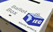 A South Africa elections ballot box issued to polling stations by the Independent Electoral Commission (IEC)