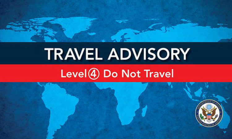 Travel Advisory: Level 4 - The Department of State advises U.S. citizens to avoid all international travel due to the global impact of #COVID19. In countries where commercial departure options remain available, U.S. citizens who live in the US should arrange for immediate return.
