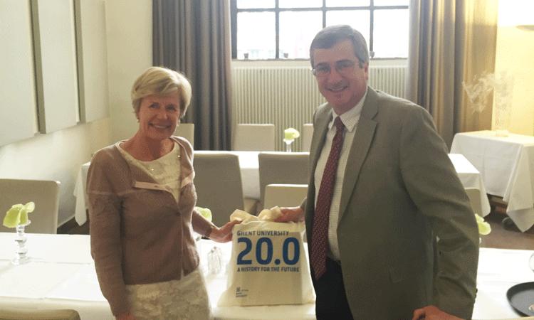Chargé d'Affaires Matt Lussenhop and Universiteit Gent Rector Anne De Paepe