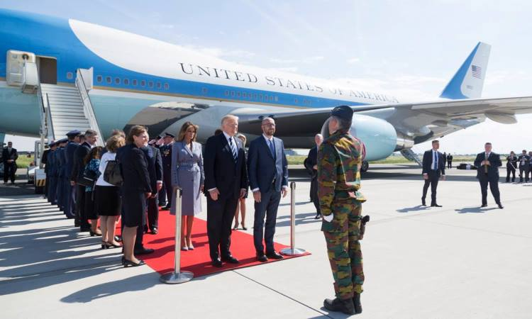 President Donald Trump and First Lady Melania Trump are welcomed by Belgium Prime Minister Charles Michel, and his partner, Amélie Derbaudrenghien, on their arrival to Brussels International Airport in Brussels, Belgium. (Official White House Photo by Shealah Craighead)