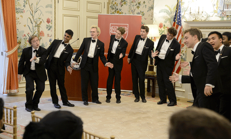 The Harvard Krokodiloes, Harvard's oldest a capella group performed at the Residence on their 2017 Summer World Tour.