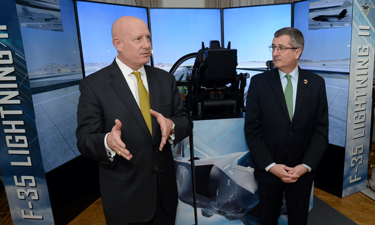Chargé d'Affaires Matthew Lussenhop with Lockheed-Martin Vice President Jack Crisler at U.S.-Belgium Defense Cooperation Reception, January 31, 2018