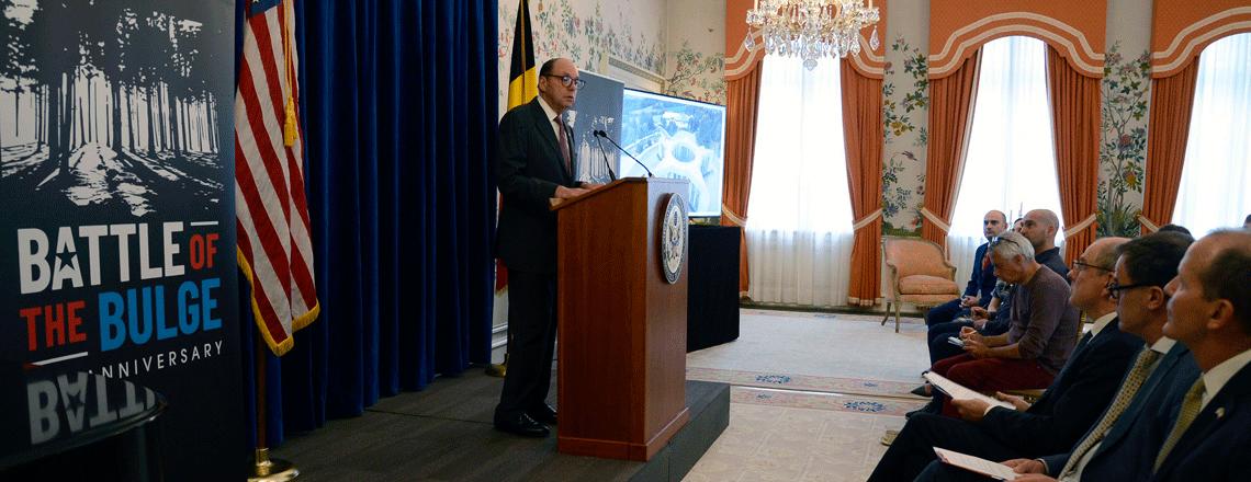 De Ambassade van de Verenigde Staten kondigt de restauratie van het Mardasson-monument in