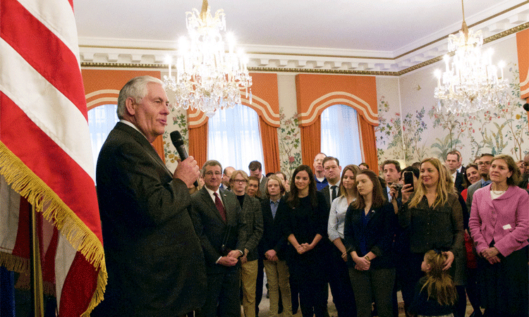 U.S. Secretary of State Rex Tillerson meets with staff and families from the U.S. Embassy to the Kingdom of Belgium, the U.S. Mission to the European Union, and the U.S. Mission to NATO in Brussels, Belgium on December 5, 2017. [State Department Photo/ Public Domain]