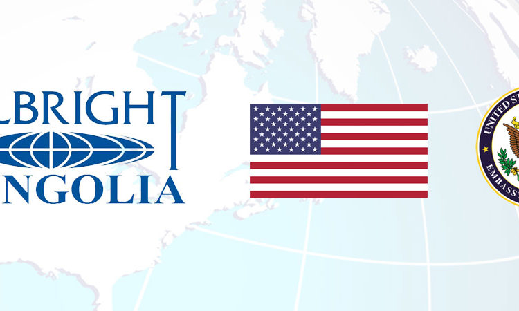 banner with fulbright mongolia logo, embassy seal, and globe.