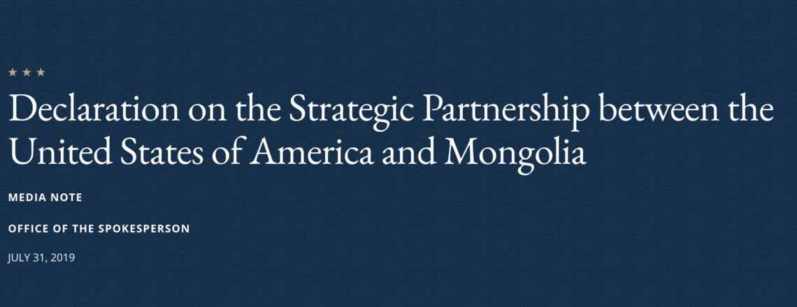 Declaration on the Strategic Partnership between the United States of America and Mongolia