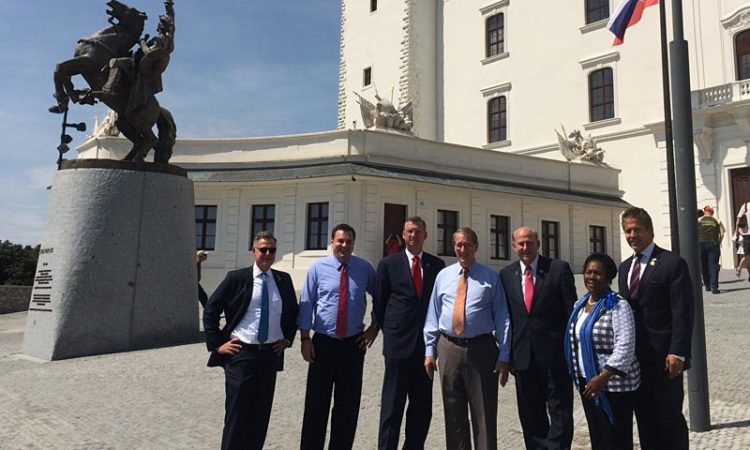 U.S. Congressional delegation at Bratislava Castle (Embassy photo)