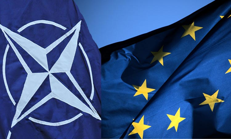 NATO, EU flags