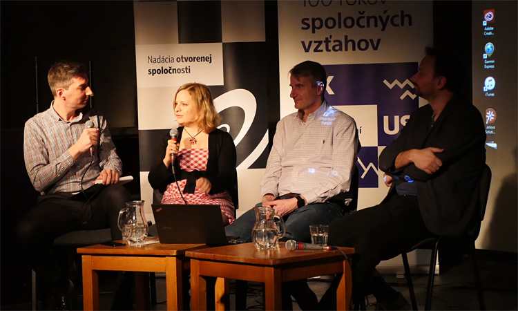 From left – moderator, Martin Stano; astrobiologist and astronaut Michaela Musilova; chemist Robert Mistrik and lawyer Matej Sapak talking about benefits of studying abroad (Embassy photo).