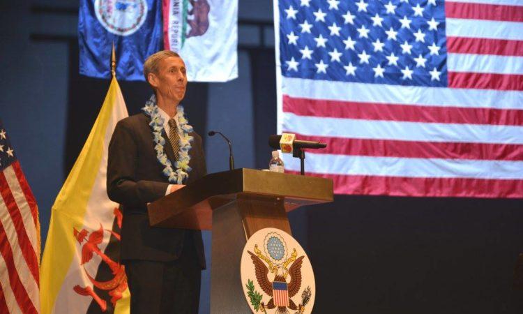 Ambassador Allen welcomes guests at the U.S. Independence Day Celebration 2017