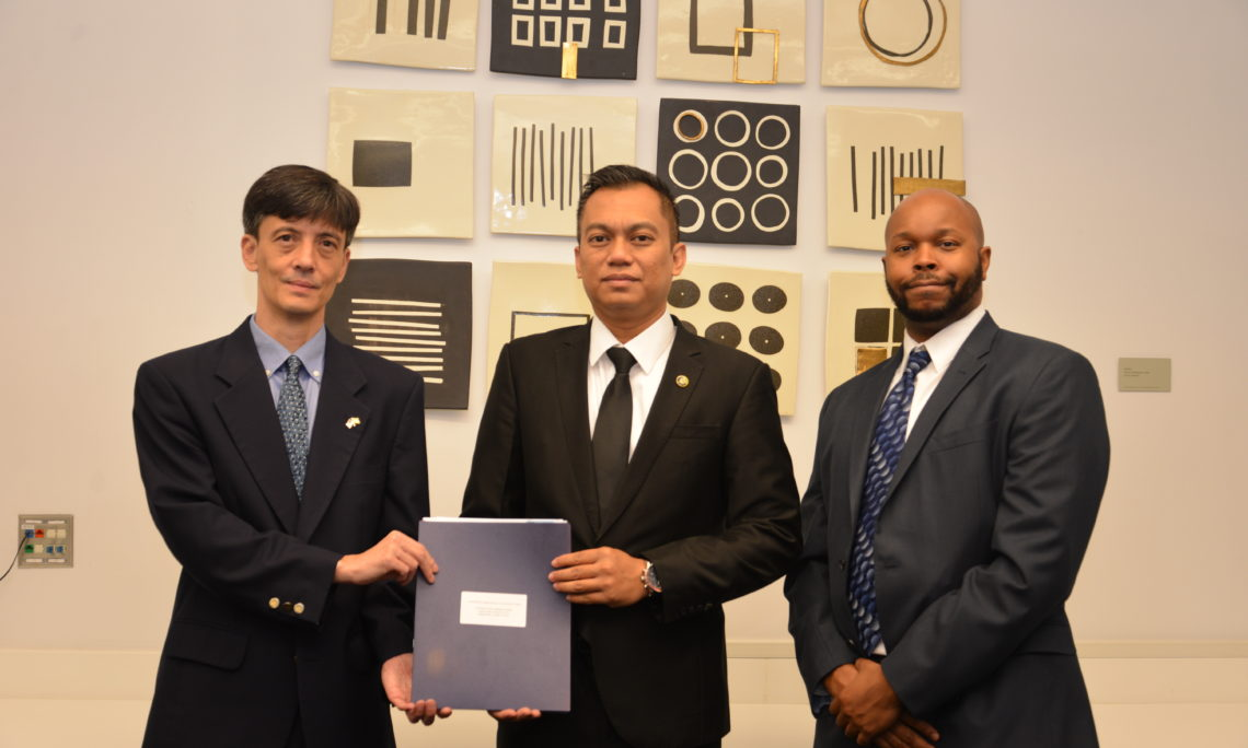 2019 IVLP participant Hj Mohammad Termizi Dr. Hj Awg Mohammad Yusop, with Public Affairs Officer, Daniel K. Lee, and Regional Security Officer, Nadim Abdush-Shahid.