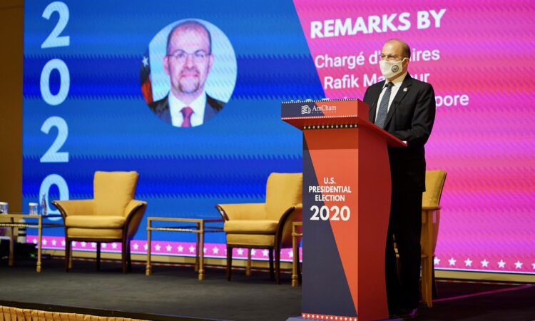 Chargé d'Affaires Mansour at AmCham Singapore's U.S. Presidential Election 2020 event
