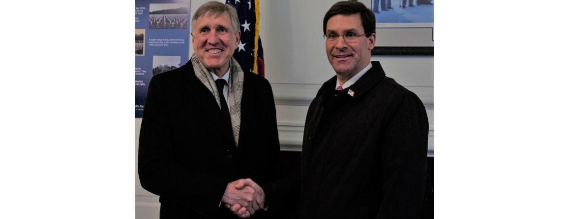 U.S. Secretary of Defense Mark Esper and Luxembourg Defense Minister Francois Bausch