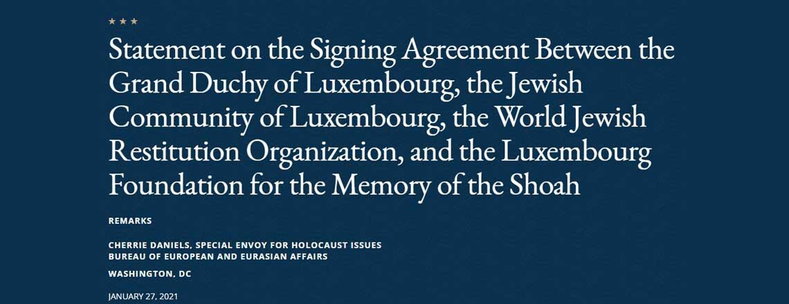 Statement on the Signing Agreement for the Memory of the Shoah