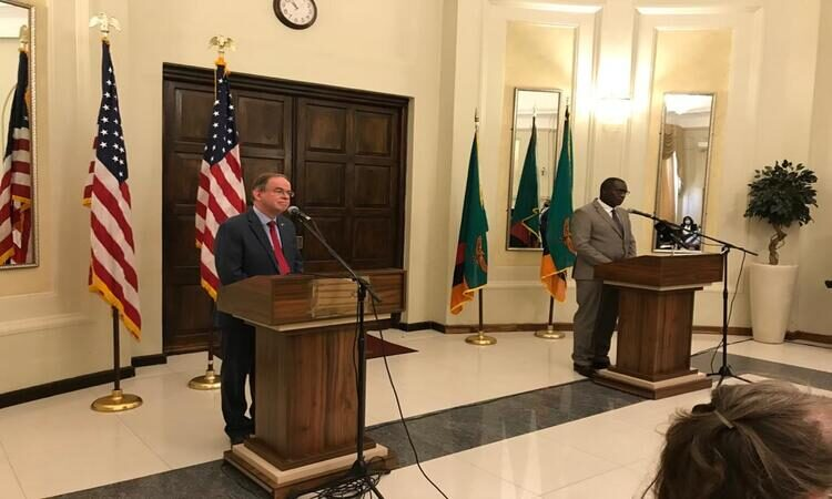 Mr. Young and Finance Minister Ng'andu hold a joint press conference to discuss USAID's five-year development strategy.