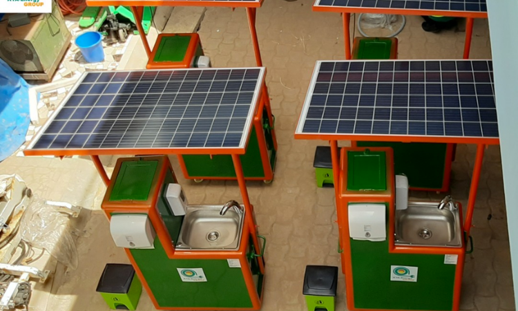 KYA-Energy Group's automated solar handwashing stations, with non-touch taps and soap dispensers. Photo credit: KYA-Energy Group.