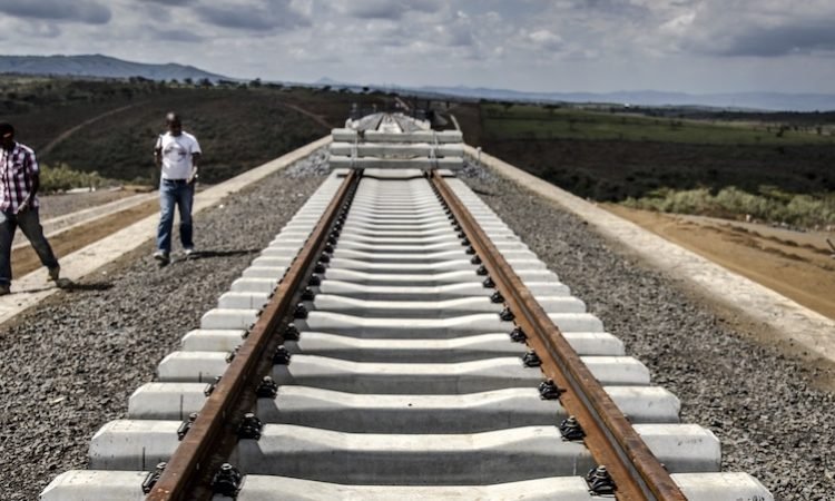 Incomplete rail tracks for the Standard Gauge Railway (SGR) line lay on the ground near Duka Moja, Kenya. Photographer: Luis Tato/Bloomberg