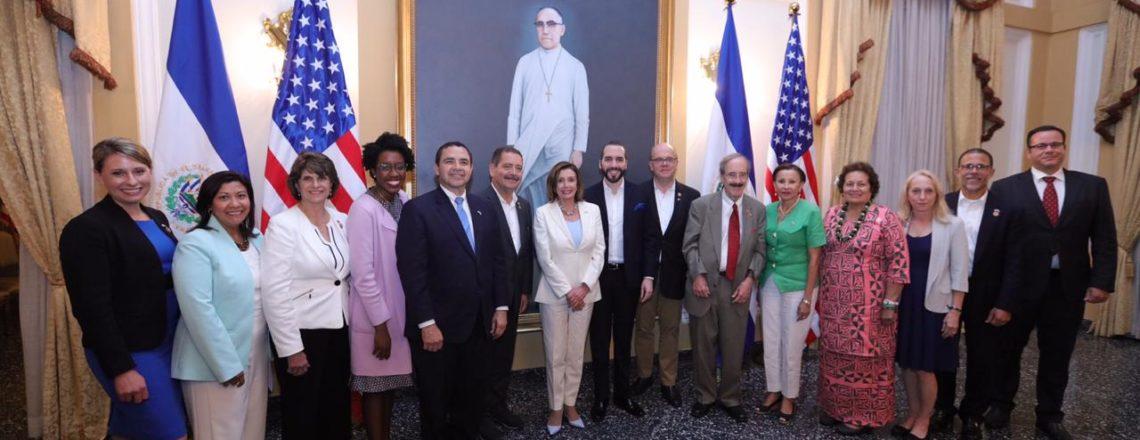 Speaker Nancy Pelosi leads a bipartisan delegation of 13 Congressmen to El Salvador