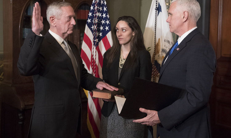 Marine Corps General James Mattis is sworn-in as Defense Secretary by Vice President Mike Pence, in the Vice Presidential ceremonial office in the Executive Office Building in Washington, D.C. on January 20, 2017. (Photo by Kevin Dietsch/UPI /CNP/MediaPunch/IPX)