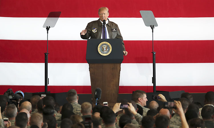 President Donald Trump addressed U.S. troops at the Yokota Air Base outside Tokyo on Nov. 5 (AP Photo/Eugene Hoshiko).