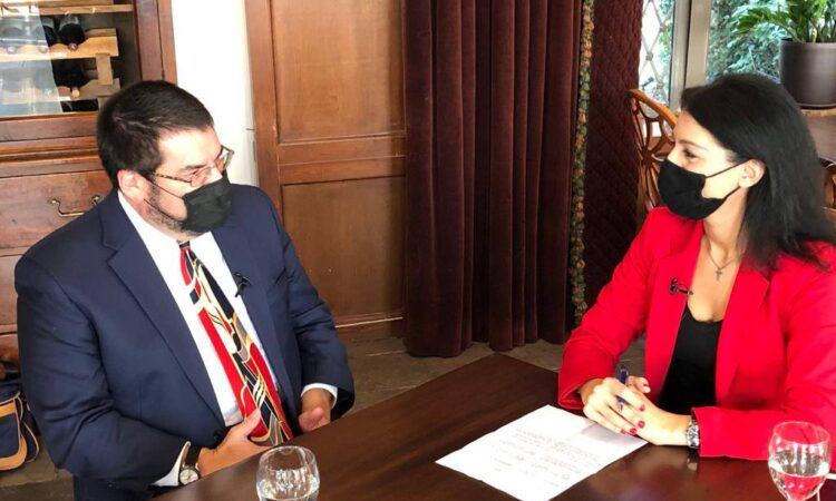 "Deputy Chief of Mission David Burger's interview with ""Eleftheri Thraki"" Newspaper journalist. (State Department Photo)"