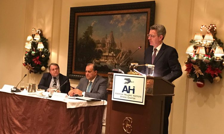 Ambassador Pyatt delivers remarks at the American Hellenic Institute (State Department Photo, December 2, 2016)