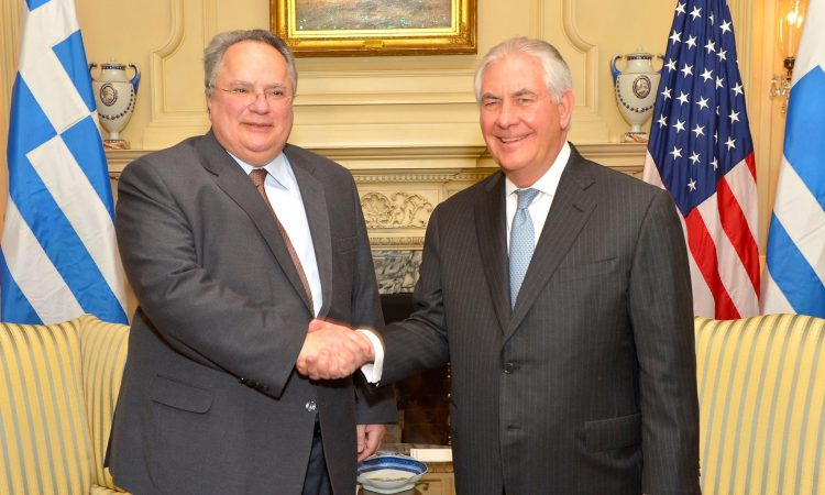 Secretary of State Tillerson meets with Greek Foreign Minister Nikos Kotzias in Washington, March 13, 2017.