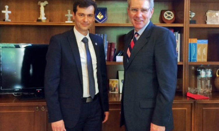 Ambassador Pyatt with Mayor of Chios Mr. Vournous (State Department Photo)