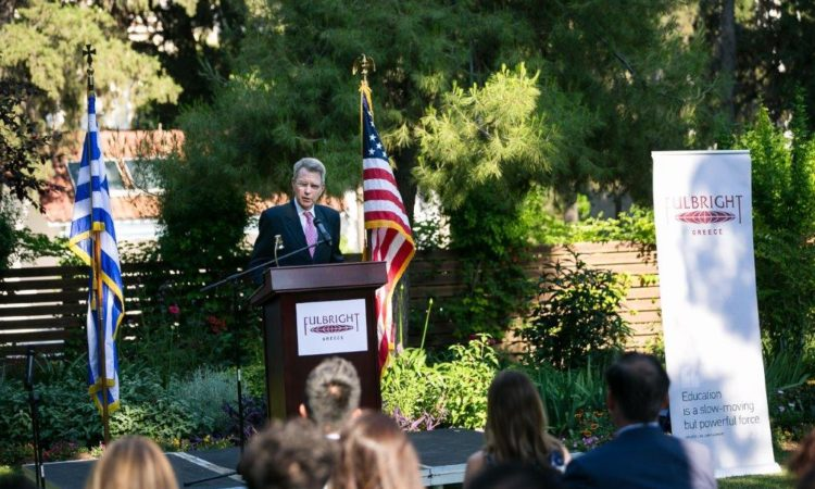 Ambassador Pyatt delivers remarks at the Fulbright Award Ceremony (State Department Photo)