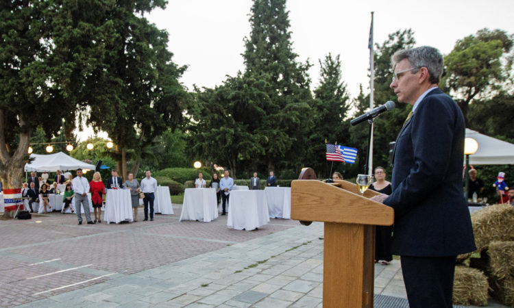 Ambassador Delivers Remarks at the 4th of July Celebration at the American Farm School in Thessaloniki (State Department Photo)