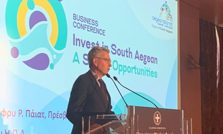 Ambassador Pyatt delivers remarks at South Aegean Conference in Rhodes (State Department Photo)