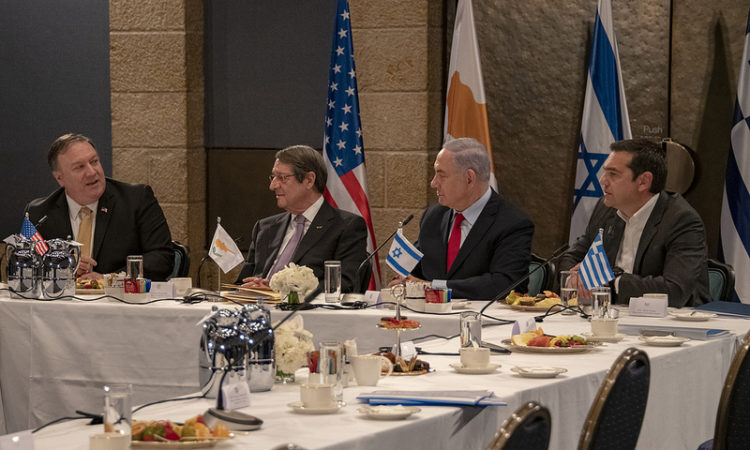 Secretary of State Pompeo with Prime Ministers of Israel, Greece and Cyprus (State Department Photo)