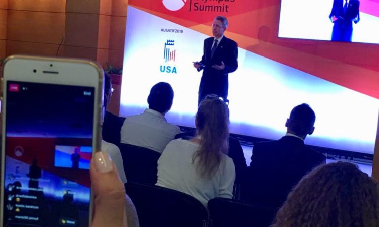 Ambassador Pyatt delivers remarks at Tech Olympus Summit (State Department Photo)