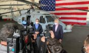 Ambassador Pyatt with PM Kyriakos Mitsotakis at USS Eisenhower (State Department Photo)