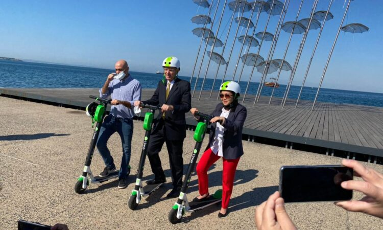 Ambassador Pyatt's Lime Scooter Ride in Thessaloniki with Consul General Liz Lee (State Department photo)