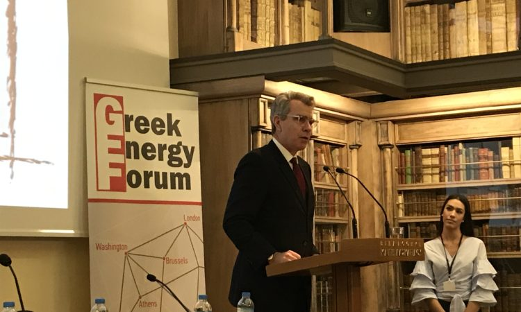 Ambassador Pyatt delivers remarks at Greek Energy Forum (State Department Photo)