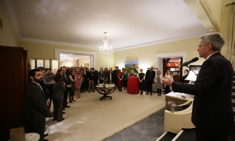 Ambassador Pyatt delivers remarks at Exchange Alumni Reception 2020 (State Department Photo)