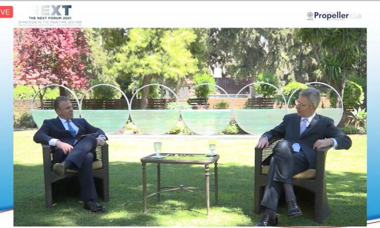 Ambassador Pyatt discusses with President of Propeller Club Costis Frangoulis