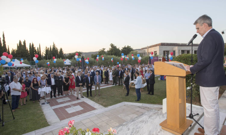 Ambassador Pyatt delivers remarks at the 4th of July celebration in Thessaloniki.
