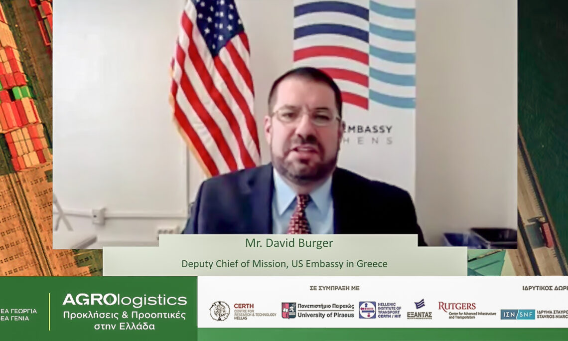 Deputy Chief of Mission David Burger delivers remarks at Agrologistics in Greece