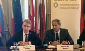 Ambassador Pyatt delivers remarks at ELIAMEP (State Delpartment Photo)
