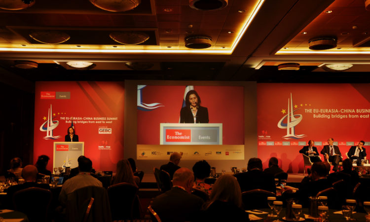 Charge D'Affaires Kate Byrnes delivers remarks at the Economist Conference, October 10, 2017 (State Department Photo)