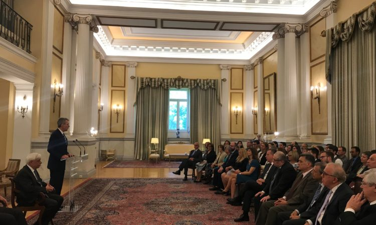 Ambassador Pyatt Delivers Remarks at the Presidential Palace for the 70the Anniversary of Fulbright Greece (State Department Photo)