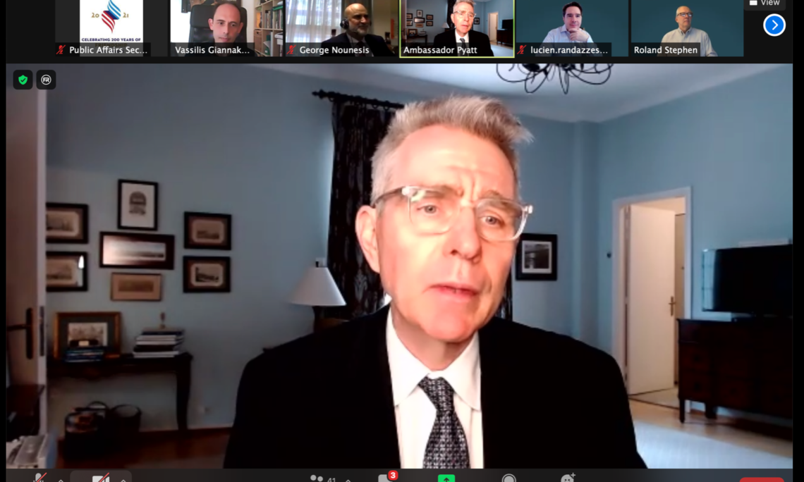 Ambassador Pyatt delivering remarks at Prometheus (Screenshot)