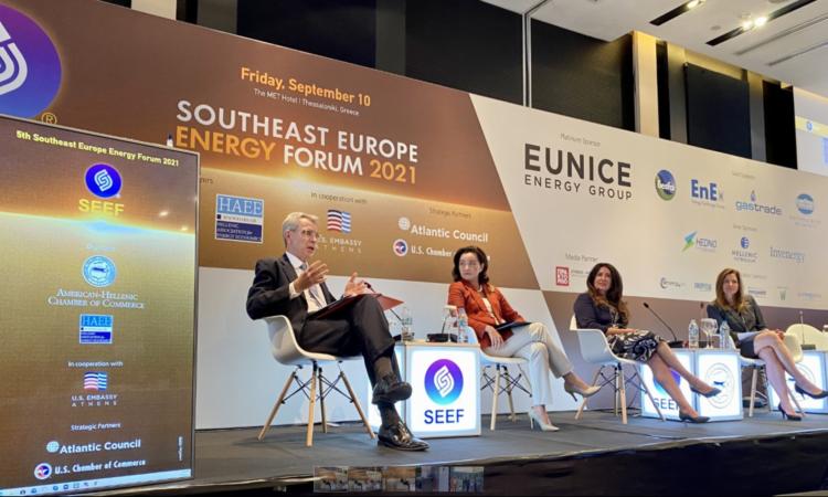 Ambassador Pyatt delivering remarks at Southeast Europe Energy Forum Panel