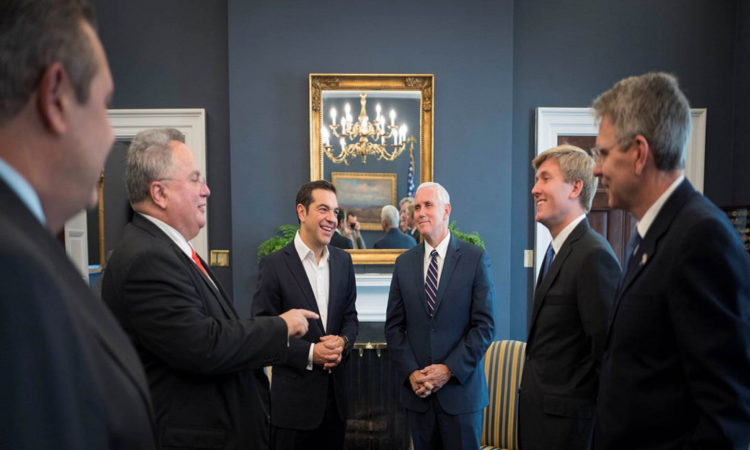 Vice President Pence with Greek PM Tsipras and U.S. Ambassador to Greece G. Pyatt (Photo by Andrea Bonetti)