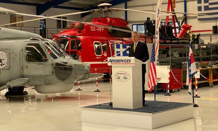 Ambassador Pyatt delivers remarks at Aeroservices (State Department Photo)