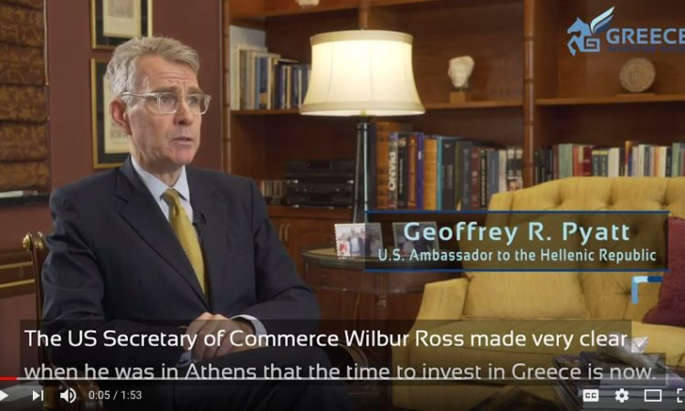 Screenshot from Ambassador Pyatt's Interview to Greece Investor Guide, Part 2