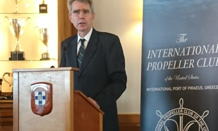 Ambassador Pyatt delivers Remarks at the Propeller Club in Piraeus (State Department Photo)